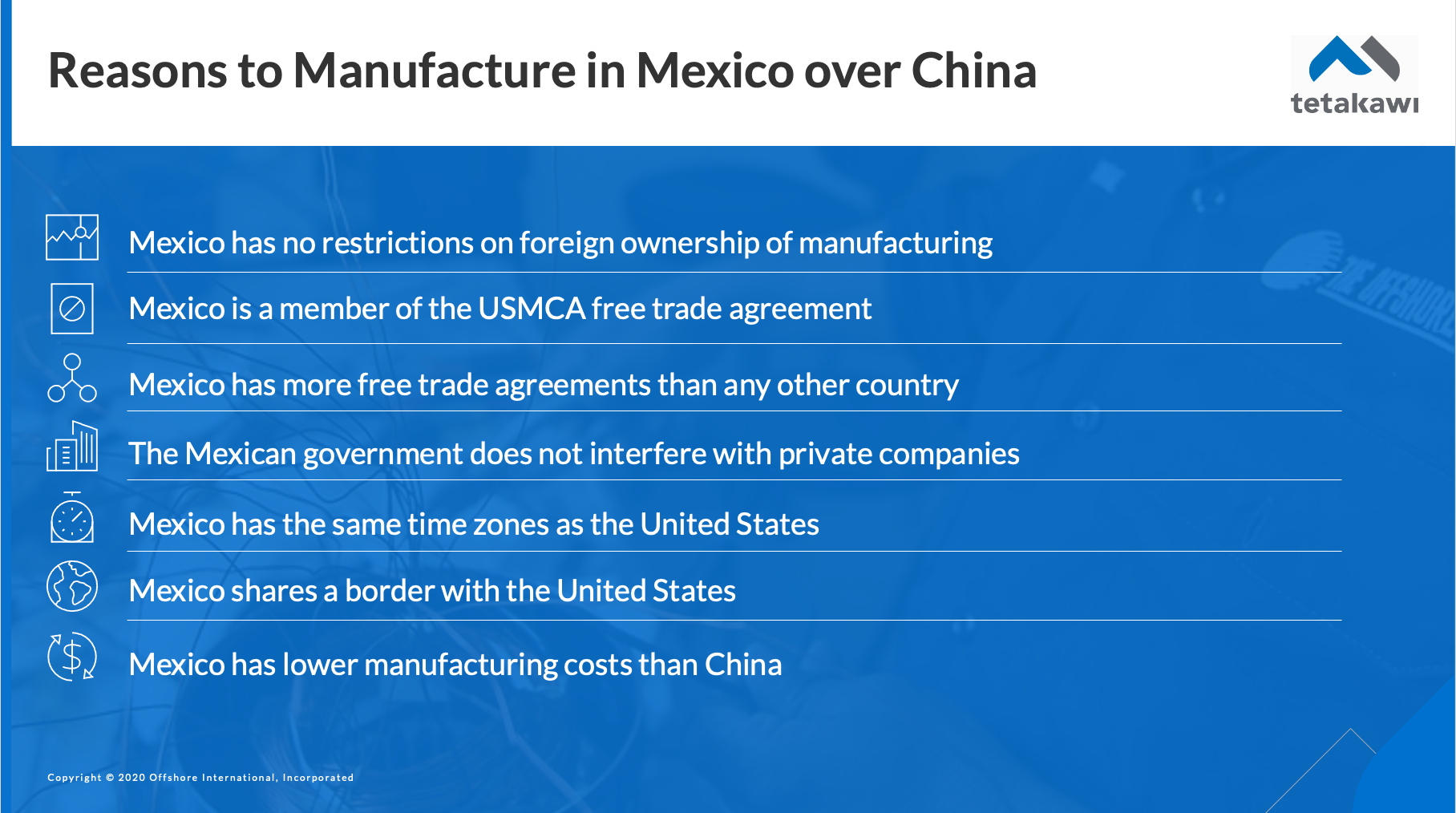 Reasons why a company should manufacture in Mexico vs China
