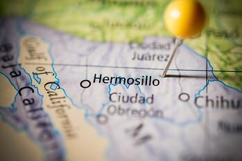 Map of manufacturing in Hermosillo