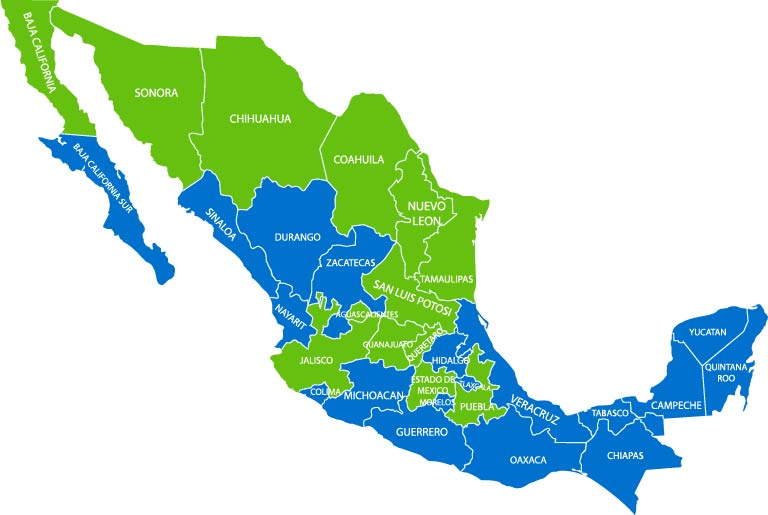 Map of main manufacturing locations in Mexico: Tijuana, Monterrey, Saltillo, Queretaro, Guanajuato, Hermosillo, Guaymas, and Empalme