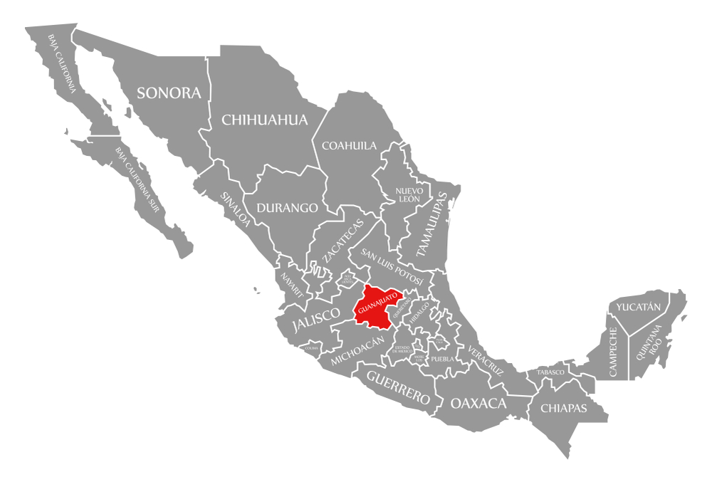 Map of manufacturing in Guanajuato, Mexico