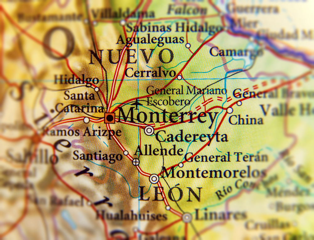 Map of the manufacturing areas in Monterrey, Nuevo Leon, Mexico